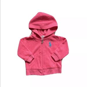 Polo Ralph Lauren Terry Cloth Pink Hoodie Sweater